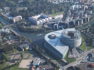Vue d'ensemble Strasbourg du Conseil de l'Europe et Cour Europeénne des Droits de l'Homme
